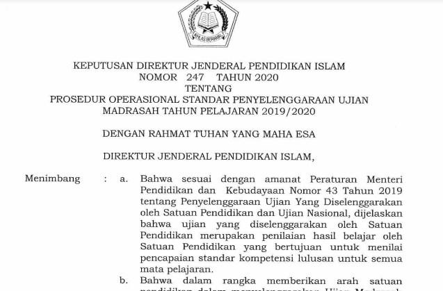 Terbaru POS Ujian Madrasah Tahun 2019/2020
