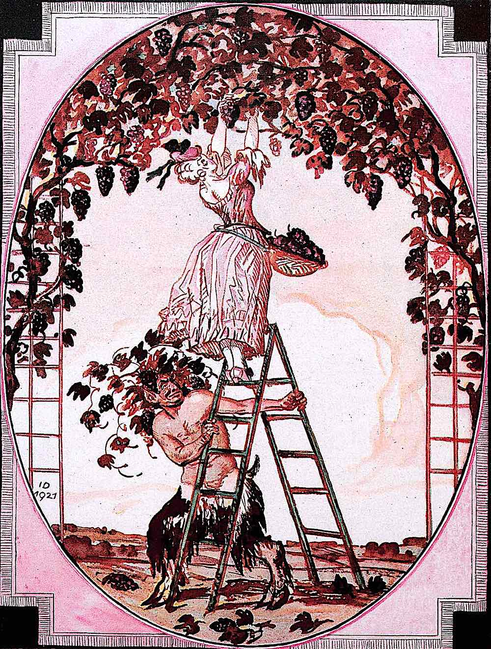 a Julius Diez 1927 illustration of a satyr steading a ladder and peeping up a woman's skirt