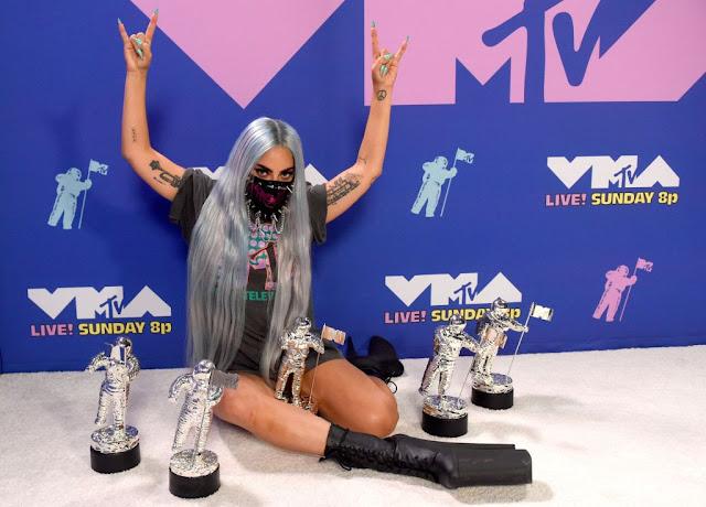 Lady Gaga is wearing an MTV VMAs x Chromatica T-shirt by Haus of Gaga