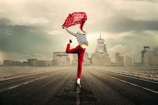 girl, woman, joy of life, jump, free, freedom, young woman, cloth, sky, ease, luck, colorful, city, to be happy, break free, liberating leap, feel, road, skyline of manhattan, photo montage, composing
