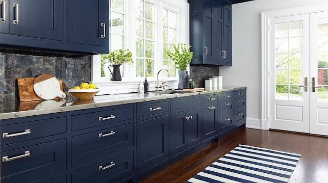 مطبخ ازرق كحلي اللون عصي و أنيق موديل 2020