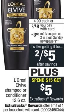 L'Oreal Elvive Hair Care- 2/$8.00