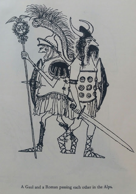 Ronald Searle illustration from Down With Skool! - A Gaul and a Roman passing each other in the Alps