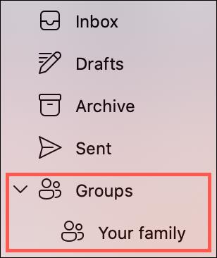 قم بتوسيع المجموعات في الشريط الجانبي