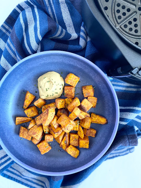 Sweet & Spicy Air Fryer Sweet Potatoes...crispy and full of flavor these sweet potatoes are the ultimate healthy side dish or snack!