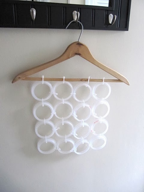 recycled candle ring scarf holder