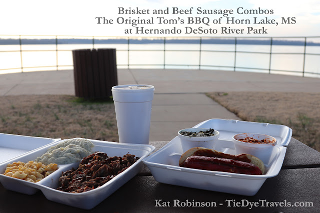 Brisket and beef sausage dinners from The Original Tom's BBQ iin Horn Lake, MS