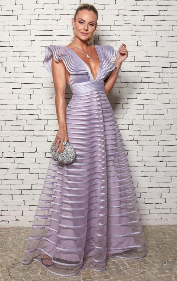 Layla Monteiro vestido longo lavanda