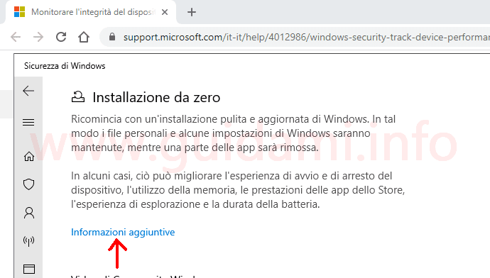 Sicurezza di Windows link informazioni aggiuntive installazione da zero