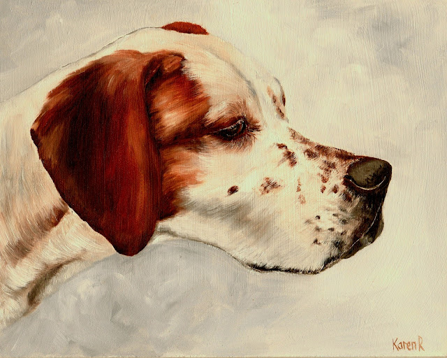 Head Study of a Pointer, an oil painting