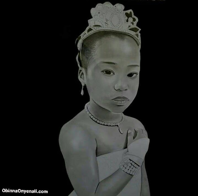 Realistic pencil drawing of an African child
