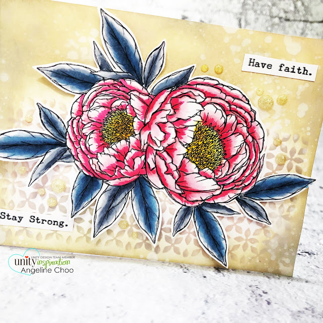 ScrappyScrappy: Brand NEW release by Unity Stamp - Peony Hugs #scrappyscrappy #unitystampco #cardmaking #stamp #papercrafting #handmadecard #distressoxide #stencil #copicmarkers #peonyhugs #gracielliedesign #floralart #peonystamp #nuvoglitterdrop #timholtzstencil #peony