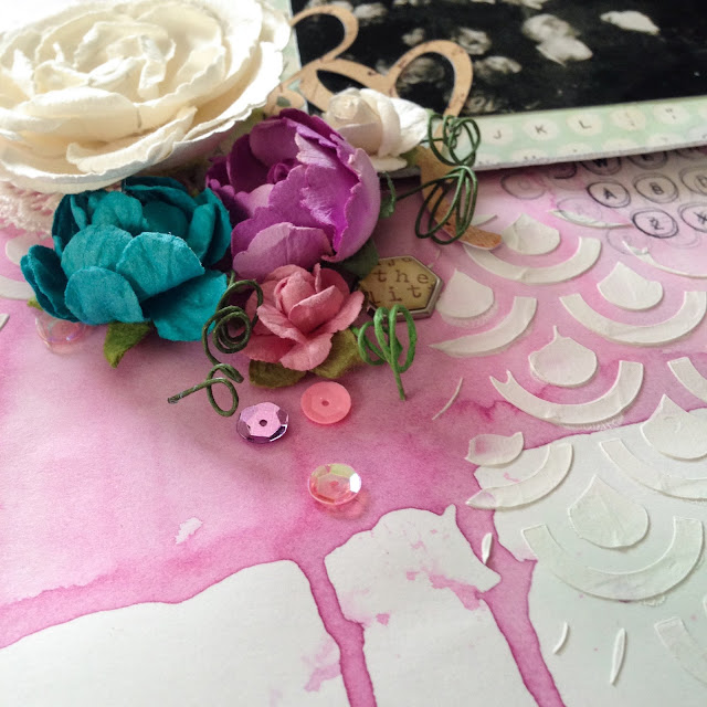 A Vintage Wedding:  Uses mixed media and lots of pretty Prima Marketing flowers and patterned papers. | Alice Scraps Wonderland