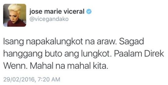 Vice Ganda expressed his heart breaking message on Twitter towards the passing of Direk Wenn De Ramas