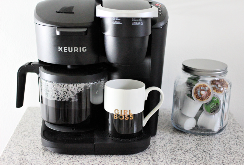 a Keurig K-Duo Essential Coffee Maker on a marble table
