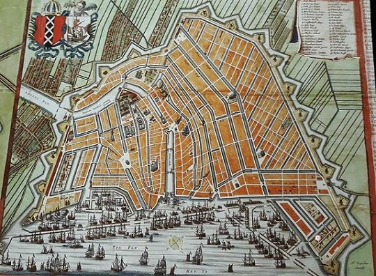 Confusión de confusiones, por José de la Vega Mapa_Amsterdam_siglo_XVII