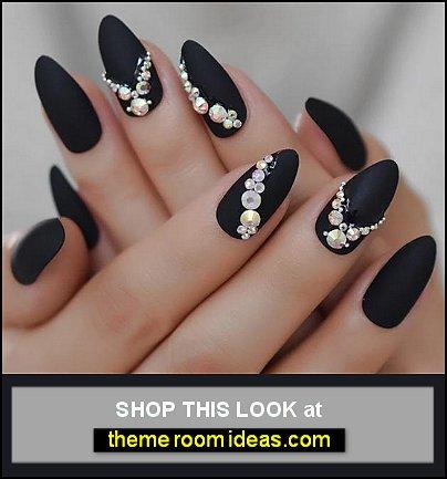 matte nails Shimmer Shiny Rhinestones matte nails party nails dressy nail decorations