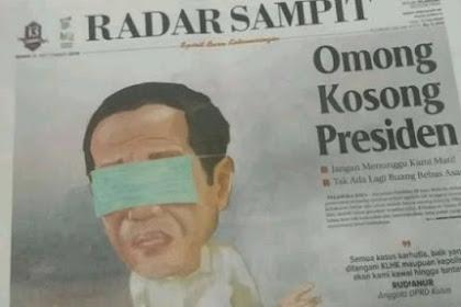 Viral Ilustrasi Koran Radar Sampit Hari Ini: Mata Jokowi Ditutup Masker