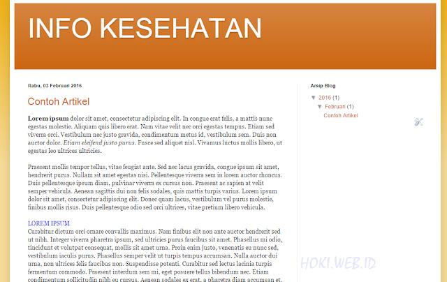 Tampilan artikel yang diposting di blog.