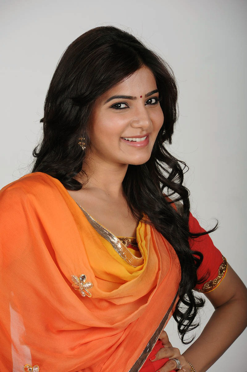 Actress Samantha Long Hair Photos In Orange Dress