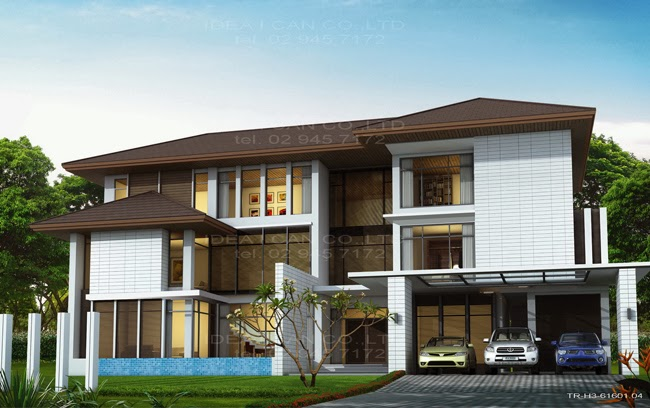 The three story home plans 8 bedrooms 10 bathrooms for Thai modern house style