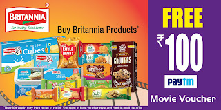 Paytm Britannia offer - Get Rs.100 Movie Voucher on Purchasing Britannia Products