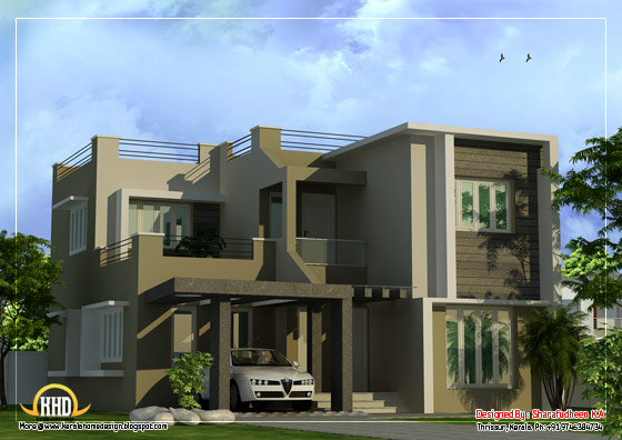 Modern Duplex Home design - 1873 Sq. Ft. (174 Sq. Ft.) (208 Square Yards) - March 2012