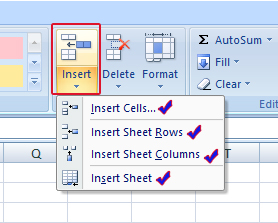 insert option in home tab