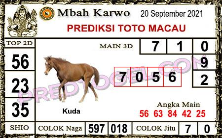 Prediksi jitu Mbah Karwo Macau Senin 20 September 2021