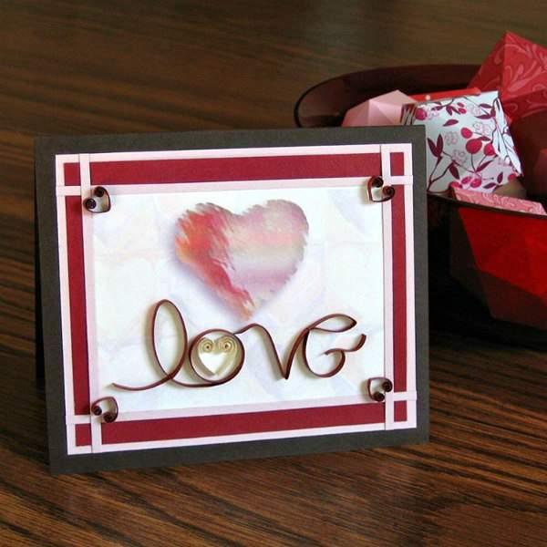 quilled cursive lettering love Valentine card