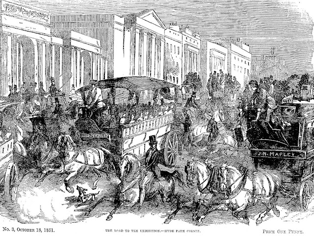 An illustration of rush hour traffic in 1851