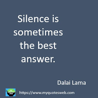 Silence is sometimes the best answer. | Dalai Lama