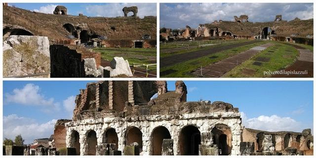 particolari dell'anfiteatro capuano dove combatté il leggendario Spartaco