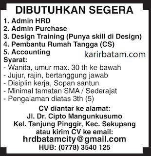 Lowongan Kerja Admin HRD dan Accounting Sekupang Batam