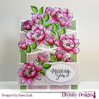 Divinity Designs Stamp/Die Duos: Hello Friend, Custom Dies: Circles, Belly Band, Ovals, Layered Lacey Ovals, Cascade Fold Card with Layers, Paper Collection: Shabby Rose