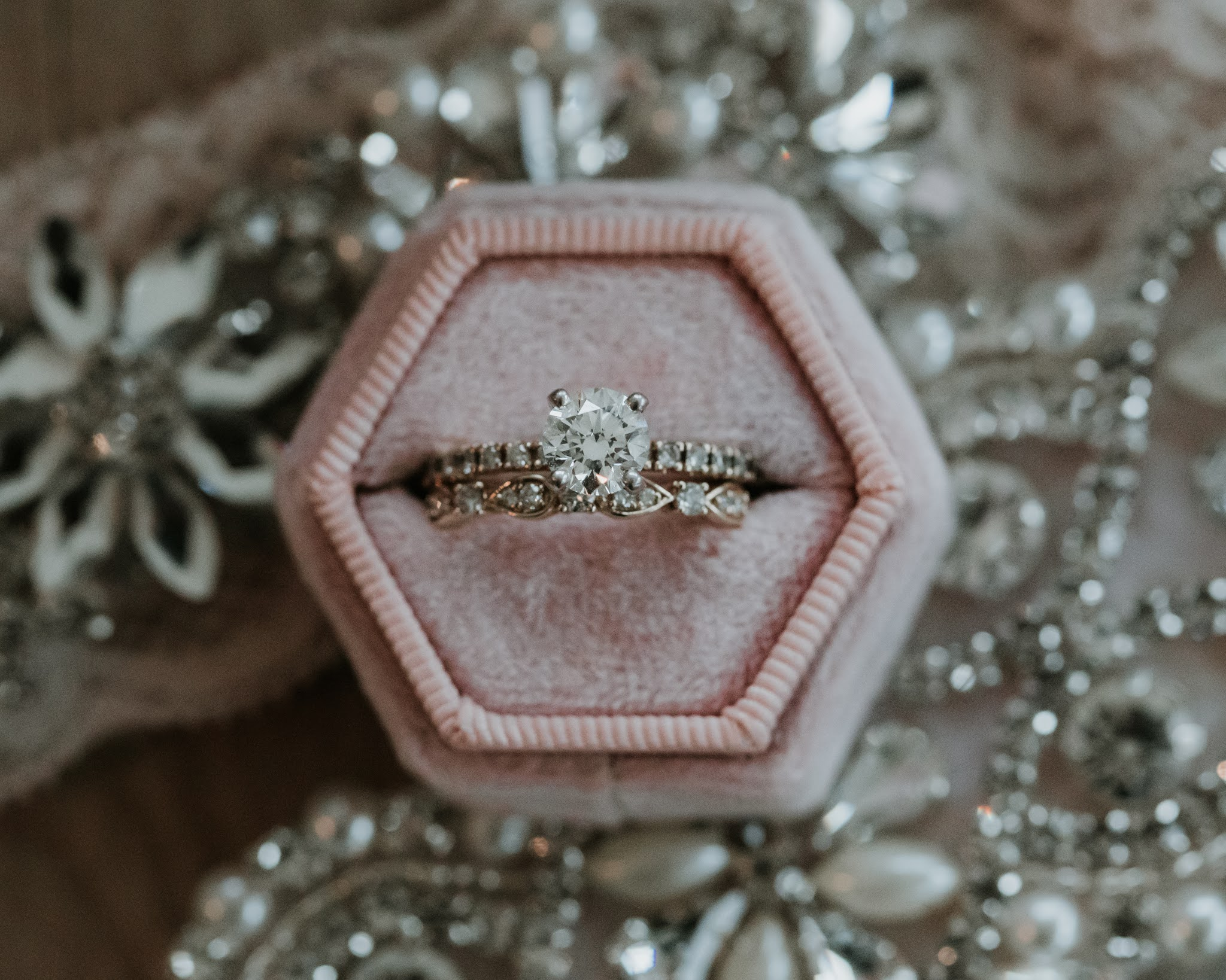 close up of wedding ring in velvet ring box wedding day photography