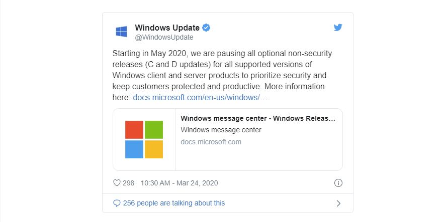 Microsoft suspends all optional updates for all versions of Windows 10