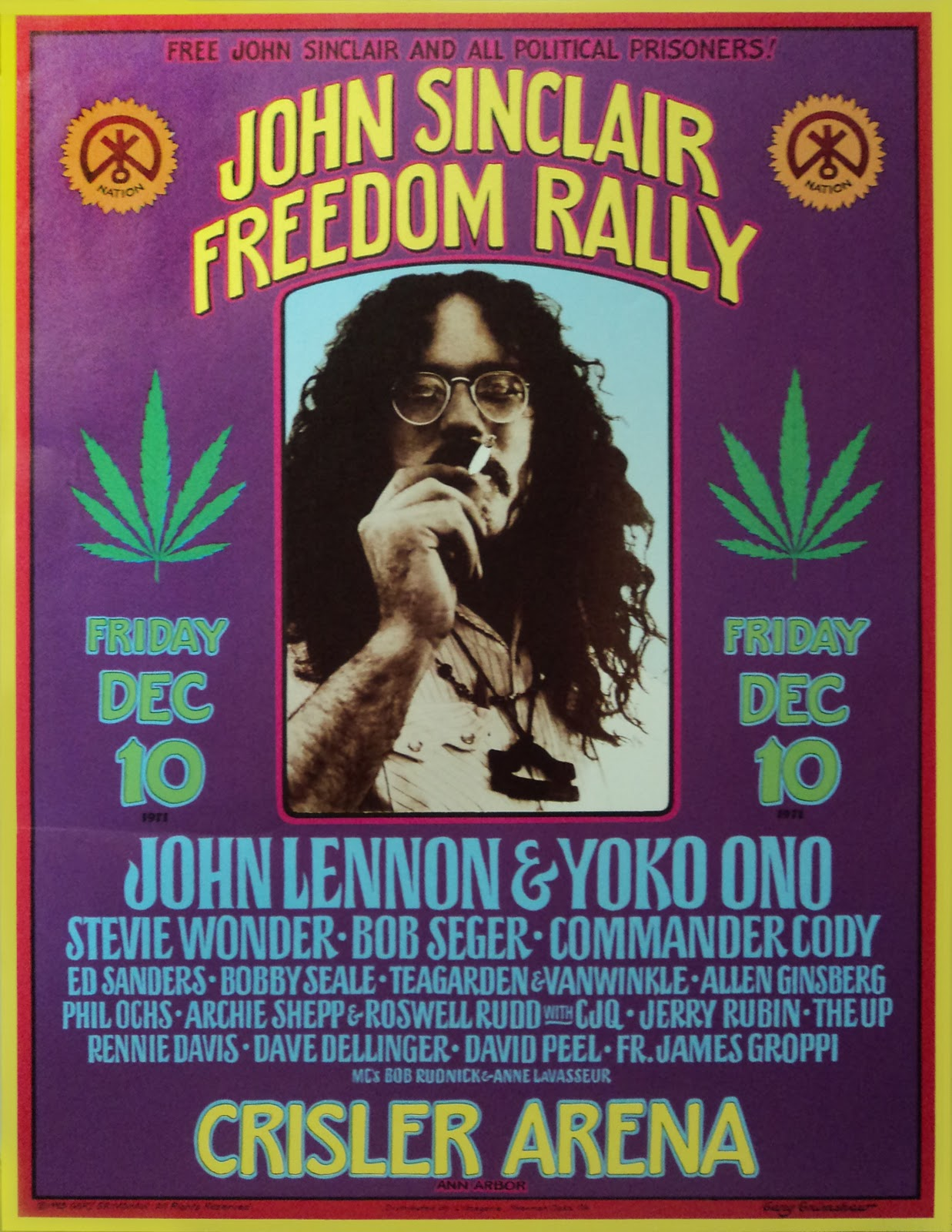 Póster evento John Sinclair Freedom Rally