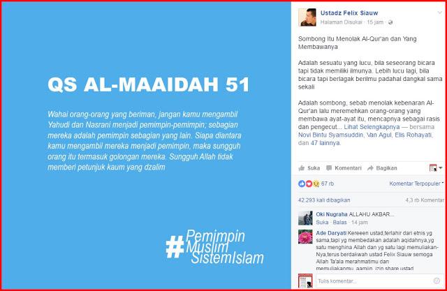 Reaksi Ust. Felix Siauw terhadap Pernyataan Ahok: Sombong Itu Menolak Al-Qur'an dan yang Membawanya