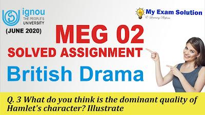 hamlet character, dominant hamlet character, hamlet, ignou meg 02, meg 02 solved assignment, ignou assignment