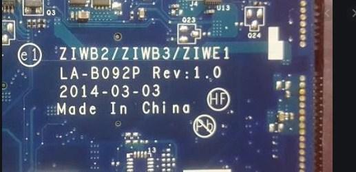 LA-B092P REV1.0 Bios Lenovo B50-70 ZIWB3 U1 25B64BSIG Clear me