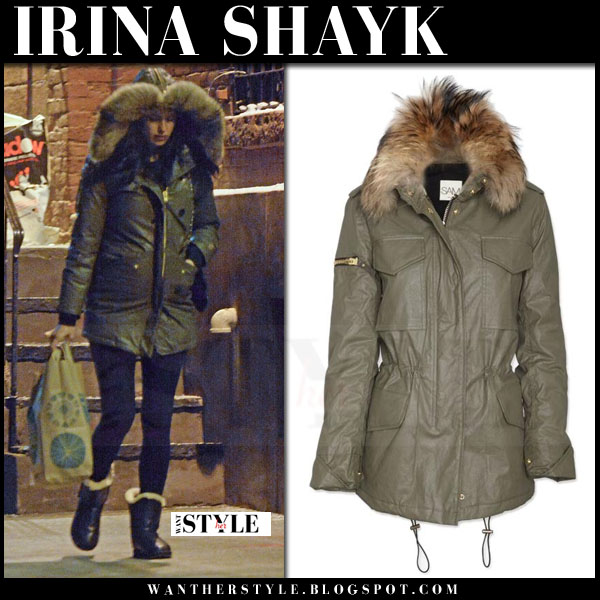 Irina Shayk in khaki green fur hood parka from sam. what she wore models off duty