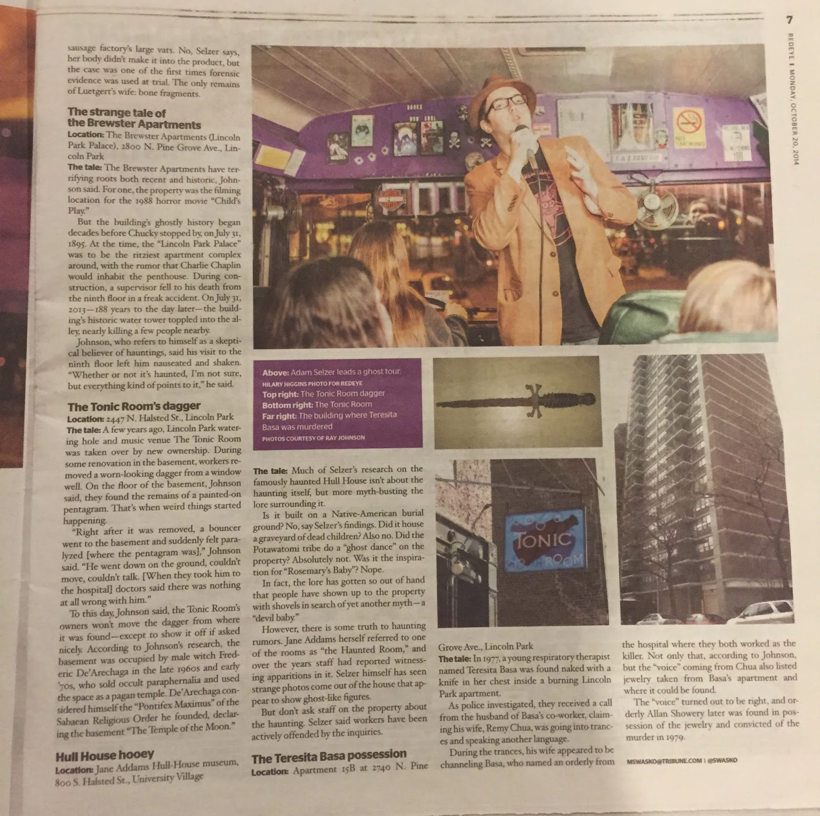 Adam Selzer in the RedEye, Oct 2014 page 2