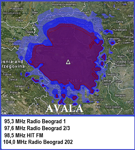 Mapa pokrivenosti Avala