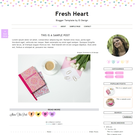 Fresh Heart Blogger Template