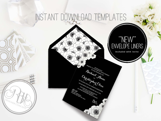 Black White anemone Wedding Invitation Envelope Liner-Delta