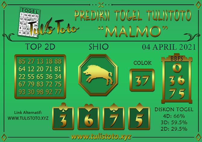 Prediksi Togel MALMO TULISTOTO 04 APRIL 2021