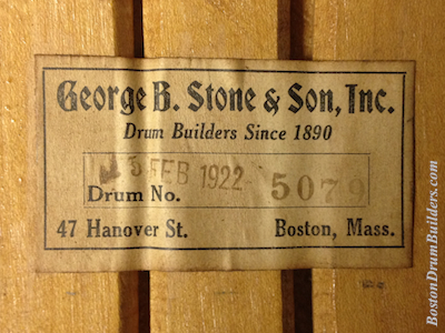 Geo. B. Stone Snare Drum Label