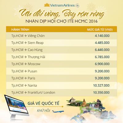 giá vé máy bay giá rẻ Vietnam Airlines ưu đãi vàng chặng quốc tế