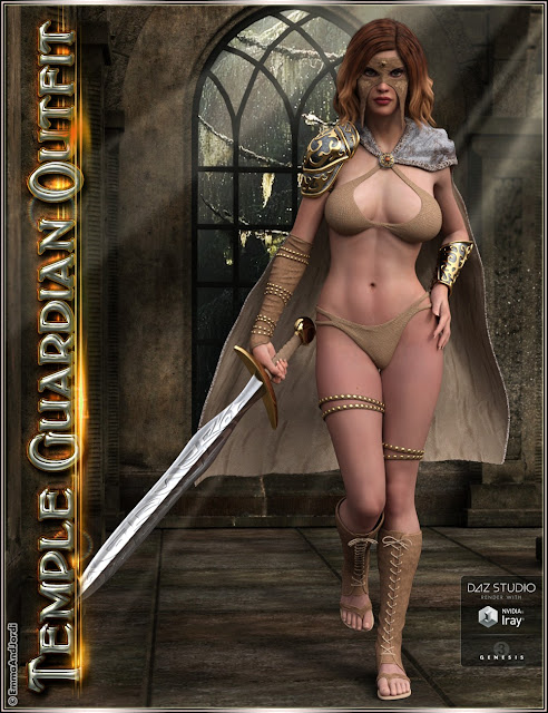 Temple Guardian Outfit and Accessories for Genesis 3 Female
